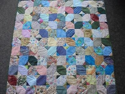 Hand Made Patchwork lap Quilt. 1 metre square. Multicoloured. Green backing.