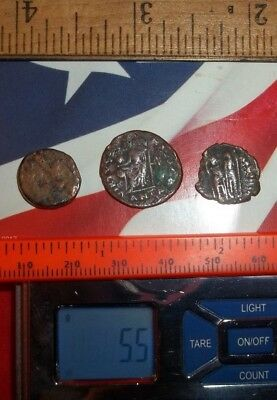 Ancient Roman AE Coins Follis 1/2 inch, 5+grams - Lot of 3x Ancient Rare coins