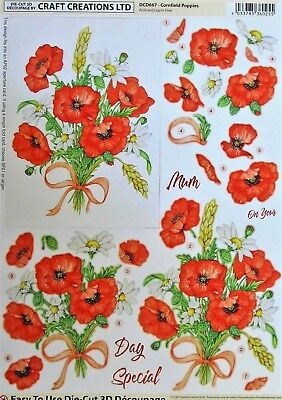 "A4 DIE CUT 3D PAPER TOLE DECOUPAGE ""CORNFIELD POPPIES"" SHEET DCD667 Flowers"