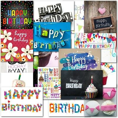 Pack of 20 Mixed Contempory Birthday Premium Greeting Cards Adults Boys Girls