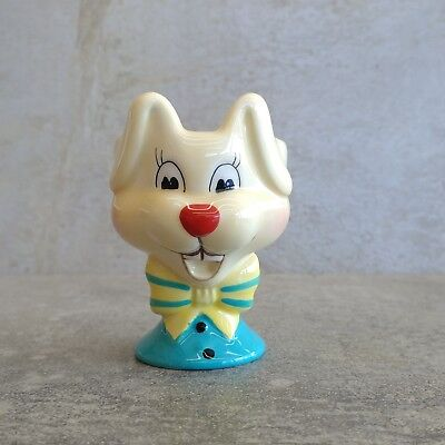 Ceramic Egg Cup Cute Yellow Rabbit with Bow Easter Bunny Red Nose Blue Novelty