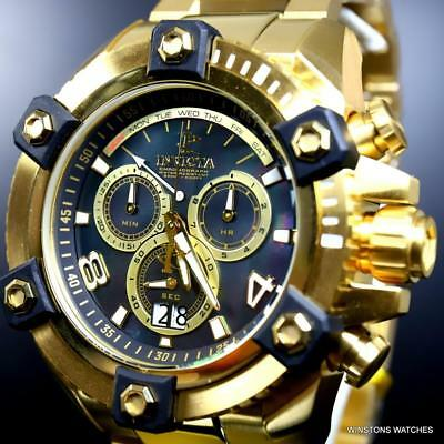 Invicta Reserve Grand Octane 18kt Gold Plated Black MOP Swiss Mvt 63mm Watch New