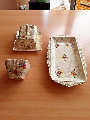 3 pce, Vintage James Kent Embassy Pattern - Butter Dish, Oblong Tray, Small Dish