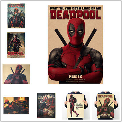 Avengers Deadpool Retro Kraft Paper Poster Bar Cafe Bedroom Decor Pictures