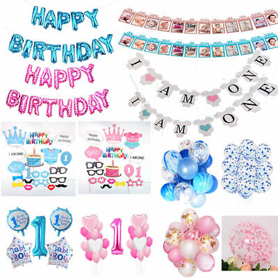 Happy 1st Birthday Banner Baby Boy Girl Birthday Party Foil Balloons Photo Props