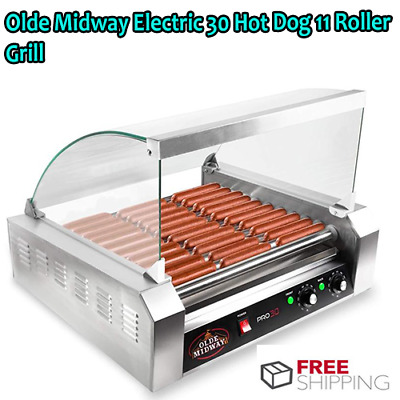 Olde Midway Electric 30 Hot Dog 11 Roller Grill Cooker Machine 1200-Watt with Co