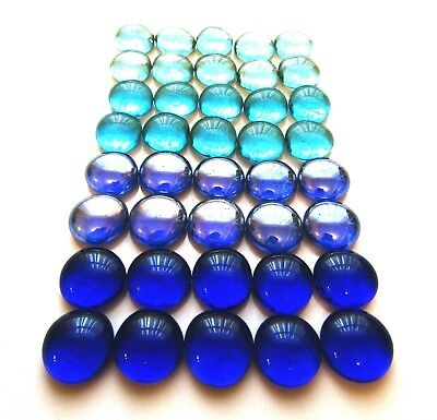 40 x Shades of 4 Different Blue Art Glass Mosaic Pebbles Nuggets Gem Stones