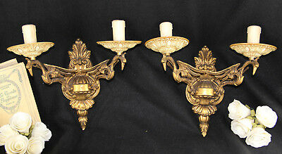 PAIR antique French brass Phoenix bird mythological Wall lights sconces rare