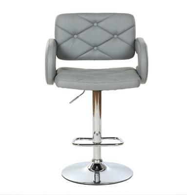 Grey / Chrome Quilted Leather Style Tub Barber Chair Beauty Hairdresser Salon