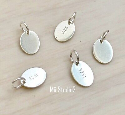 30pcs Oval Quality Tag 7.3mmx5.5mm Sterling Silver Quality Tag w/Ring T01s