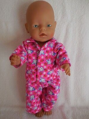 """Baby Born 17"""" Dolls Clothes Hot Pink With Rabbits Flannelette Pyjamas"""