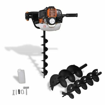 Auger Ground Drill Orange 52 cc Petrol Gasoline Engine Post Hole Borer Ground UK