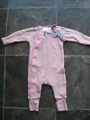 BNWT Baby Girl's Bonds Pink Towelling Cozysuit Coverall Size 000