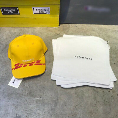 Falection 18FW Vetements DHL Print Baseball Hat Adjustable Yellow Cap