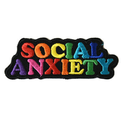 Social Anxiety Iron On Patch Embroidered Sew Anti-Social Mental Health Introvert