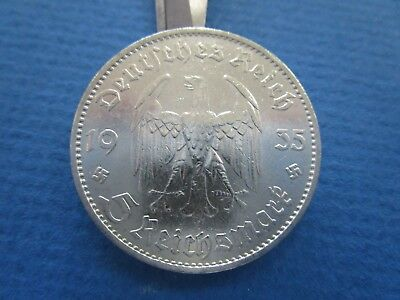 German Silver 5 mark coin -1935 D-Garrison Church-Nazi Germany-2 Small Swastika