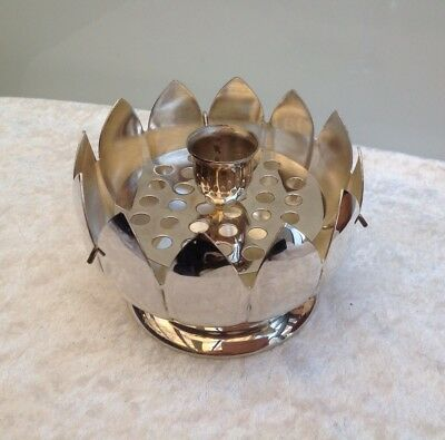 Vintage Silver Plate Lotus Float Vase With Candle Holder