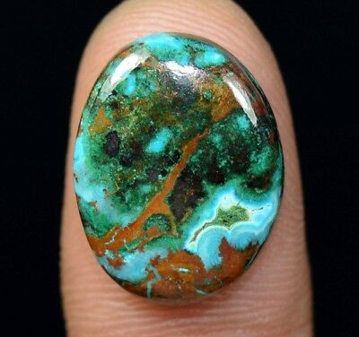 13.25 Cts. Chrysocolla Oval Cabochon Loose Gemstone For Ring Or Pendant