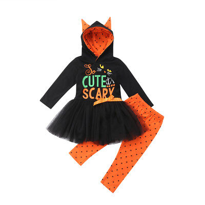Toddler Kids Girls Halloween Hoodie Dress+Long Pants Outfits Clothes Set Costume