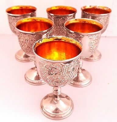Vintage 1980's SILVER PLATED Wine Sherry Port Liqueur GOBLETS Gold Leaf inner [b