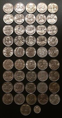 Thailand Coin 10 Baht King Rama IX Completed Set 47 Coins UNC Grade.