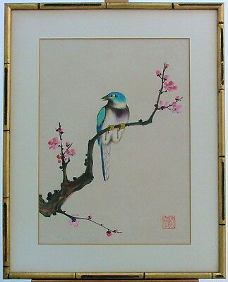 Japanese Asian Blue Bird Cherry Blossom Tree  Watercolor Painting