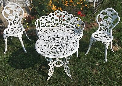 Vintage Victorian Style Table, 2 Chairs, Garden Bench Cast Iron and/or Aluminum