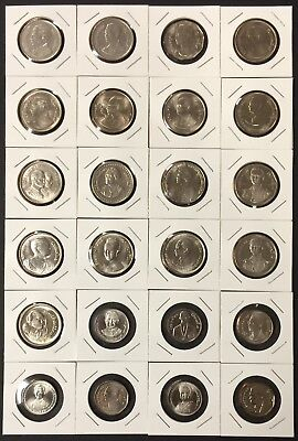 Thailand Coins 23 x 5 Baht King Rama IX Complete Set From BE 2515 / ND 1972 UNC.