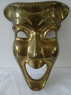 Vintage solid brass tragedy COMEDY MASK theatre mask wall hanging 8.5 in