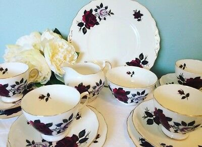Lovely Amoretto Rose Colclough Teaset 🌸 Double Rose China Pretty Vintage