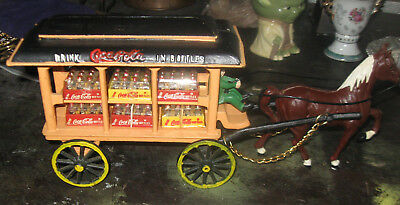 Vintage Coca Cola Cast Iron Horse Drawn Wagon W/Coke Cases and Bottles