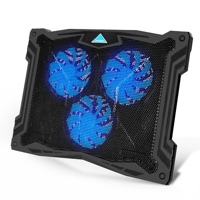 13''-17'' Laptop Cooling Pad with quiet Blue LED Fans, USB Powered Cooler Stand