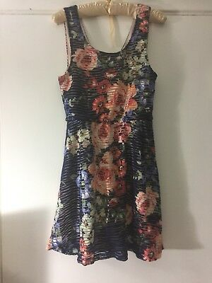 3710ccbcdf8c Three Pink Hearts Trixxi Blue Multi-colored Floral Ribbed Dress Size M
