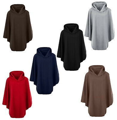 Ladies Womens Fleece Poncho Capes Hooded Anti Pill Fleece Cosy Winter Warm KK01