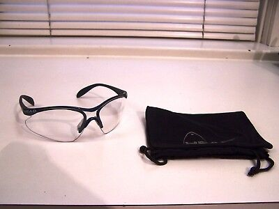 Vintage HEAD Clear Plastic Wrap Around Black Frame Glasses PIZ87.1