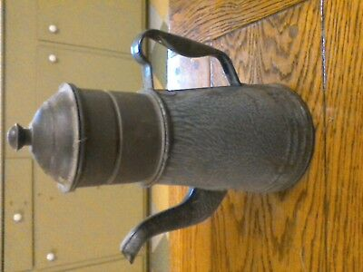 Large Antique French Enamel Biggin Coffee Pot Vintage Old Primitive Graniteware