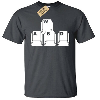 Kids Boys Girls WASD Keyboard Keys T-Shirt Funny geek nerd gamer computer pc