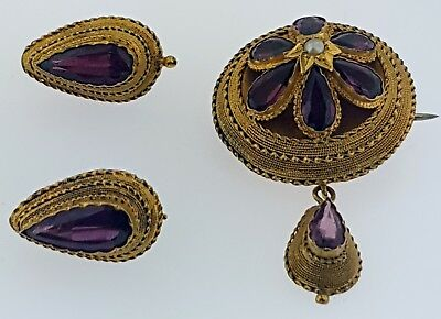 Antique Victorian Etruscan Revival 15 kt Gold+Amethysts Brooch+Earrings Set~WOW!