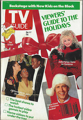 1990 TV Guide Viewer's Guide to the Holidays Dec. 1-7 Chevy Chase Dolly Parton