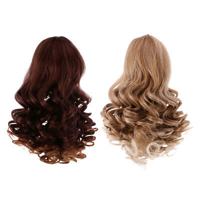 2pcs Doll Wig Heat Resistant Curly Hair for 18'' American Girl Doll Gradient