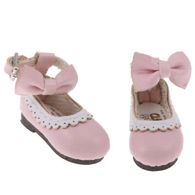 1 Pair Pink PU Leather Flat Ankle Belt Shoes for 12'' Blythe Azone Doll ACCS