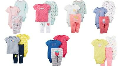 Carters Baby Girls 3 Pc Cotton Bodysuits And Pant Set NWT Free Ship