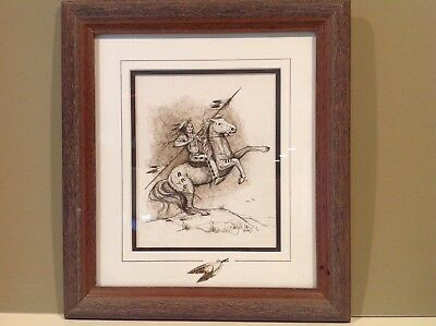 1997  Native American Indian On Horse Ink Drawing Framed Signed