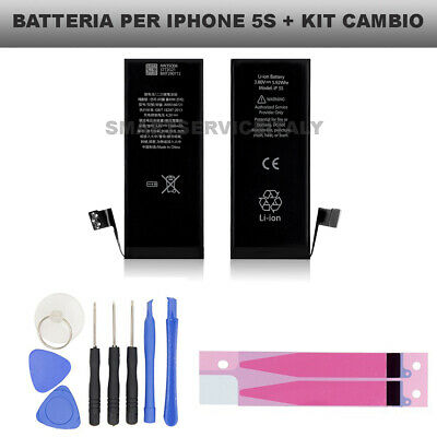 BATTERIA RICAMBIO PER APPLE IPHONE 5S 1560mAh 0 CICLI + KIT CAMBIO