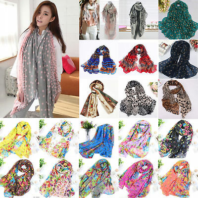 Fashion Women Ladies Floral Print Scarf Soft Wrap Long Large Shawl Scarves Stole