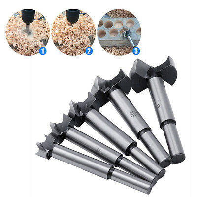 5pcs 15/20/25/30/35mm Wood Drill Bit Hole Saw Cutter Tool with Round Shank Alloy