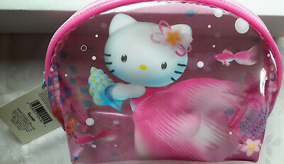 New SANRIO Underwater HELLO KITTY Pink Clear Plastic Makeup Cosmetic Bag Pouch