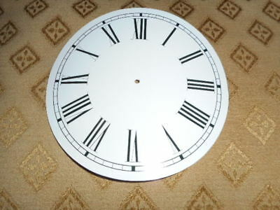 "Round Paper Clock Dial-  5"" M/T - Roman (L) -High Gloss White-Face / Clock Parts"