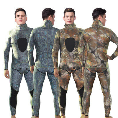 3MM Camouflage Warm Neoprene Men Two-Piece Weisuit Spearfishing Diving Full Suit