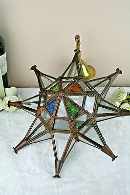 Unusual Geometric Star Antique 1930's Art deco chandelier pendant stained glass